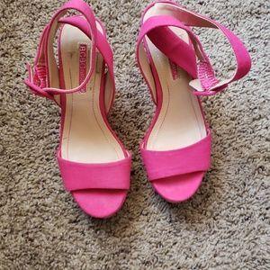 BCBG pink wedge sandals 6